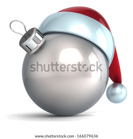Christmas ball ornament New Year bauble decoration silver Santa hat icon happy emoticon. Seasonal wintertime Merry Xmas traditional symbol souvenir blank. 3d render isolated on white background - stock photo