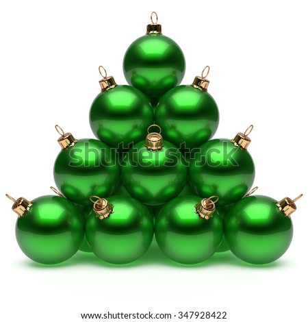 Christmas ball pyramid green New Year's Eve bauble group adornment decoration glossy spheres ornament metallic. Happy Merry Xmas traditional wintertime holidays celebrate greeting card. 3d render - stock photo