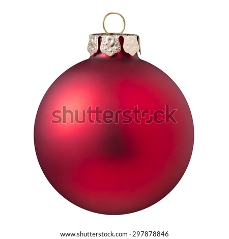 Christmas ball - red Christmas ball isolated on white background. - stock photo