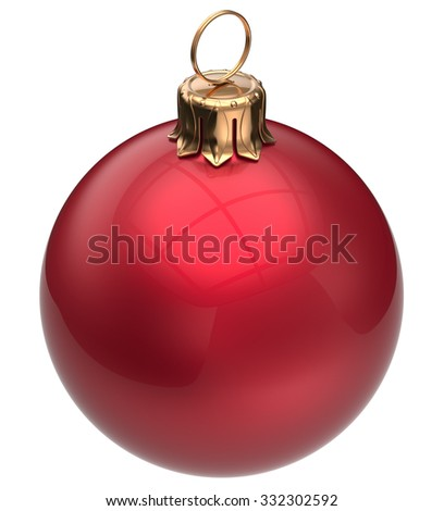 Christmas ball red New Year's Eve bauble wintertime decoration glossy sphere hanging adornment classic. Traditional winter happy holidays ornament Merry Xmas symbol blank round. 3d render isolated - stock photo