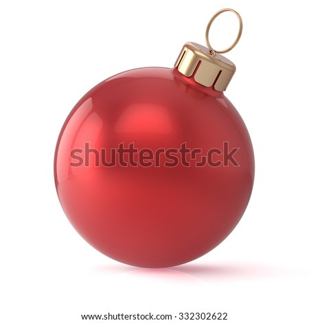 Christmas ball red New Year's Eve bauble wintertime decoration sphere hanging adornment classic. Traditional winter ornament happy holidays Merry Xmas event symbol glossy blank. 3d render isolated - stock photo