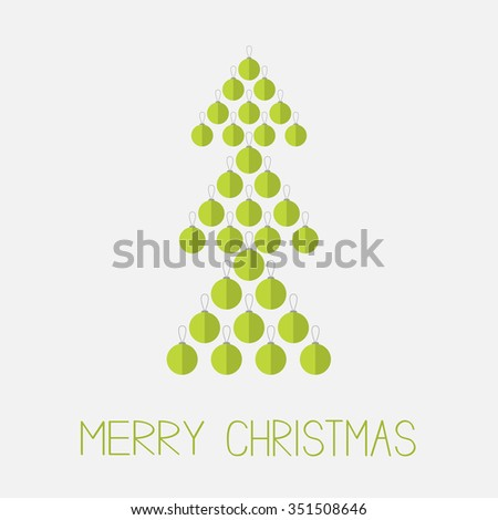 Christmas ball set in shape of green fir tree. Merry Christmas. White background. Isolated. Flat design style.  - stock photo