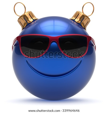 Christmas ball smiley face Happy New Year's Eve emoticon bauble cartoon cute decoration blue. Merry Xmas cheerful funny smile glasses person character toy laughing joyful adornment concept. 3d render - stock photo