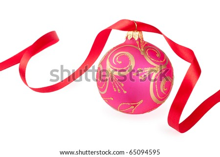 Christmas ball with a red ribbon isolated on white