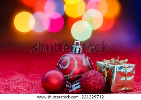 Christmas ball with background blur colorful lighting - stock photo