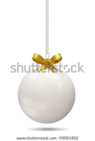 Christmas Ball with Golden Bow isolated on white background - stock photo