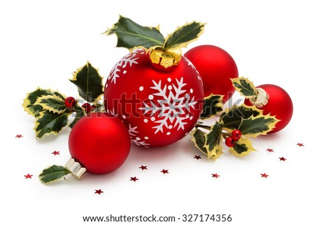 Christmas ball with painted snowflakes and Holly leaves isolated on white background. - stock photo
