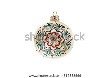 Christmas ball with pattern  isolated on a white background.