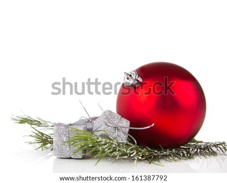 Christmas ball with pine and decorations  - stock photo