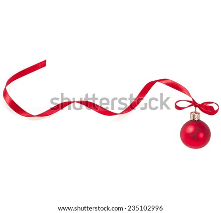 Christmas ball with red ribbon curl  isolated on white - stock photo