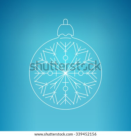 Christmas Ball with Snowflake , Christmas Ball  on a Blue Background , Christmas Tree Decoration, Drawing in the Contours - stock photo
