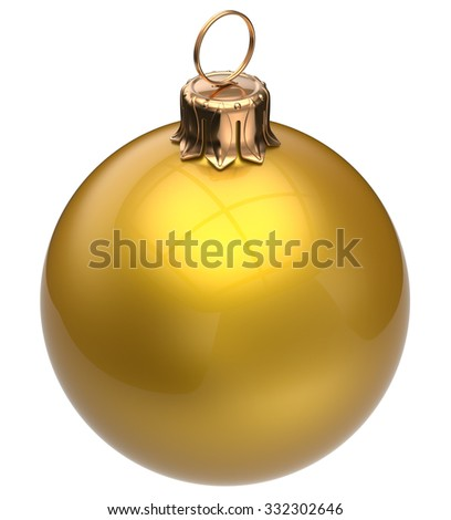 Christmas ball yellow New Year's Eve bauble wintertime decoration glossy sphere hanging adornment classic. Traditional winter happy holidays ornament Merry Xmas symbol blank round. 3d render isolated - stock photo