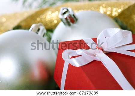 christmas balls and box gift
