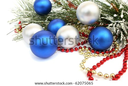Christmas  balls and fir tree  on white background. - stock photo