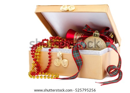 Christmas balls and ribbon with a box isolated on white background.