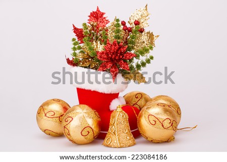 Christmas balls and Santa's red boot with decoration isolated on gray background.