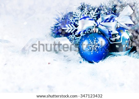 Christmas balls and snowflake on abstract background - stock photo