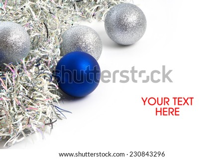 Christmas balls and tinsel symbol of New Year isolated your text