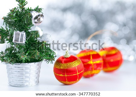 christmas balls decorations background with red balls - stock photo