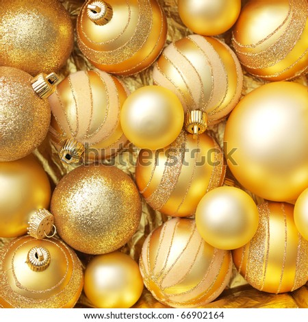 Christmas balls gold background. - stock photo