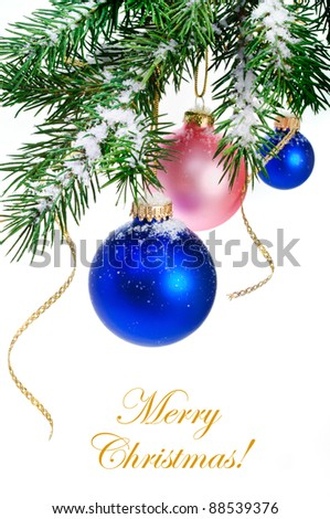 Christmas balls hanging on the Christmas tree. - stock photo