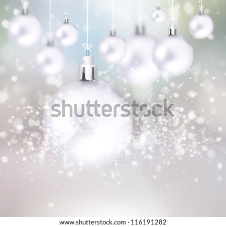 Christmas balls hanging with ribbons on abstract background - stock photo