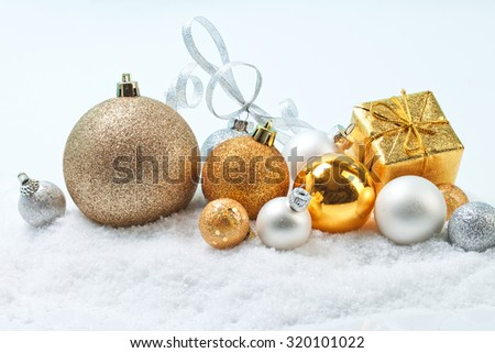 Christmas balls in snow