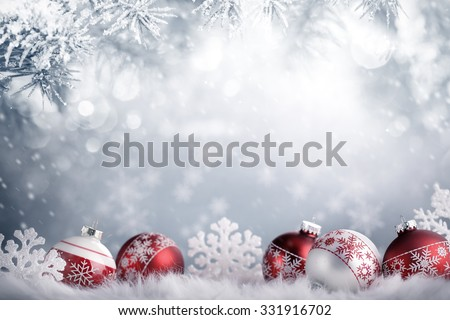 Christmas balls in winter setting,Winter holidays concept. - stock photo