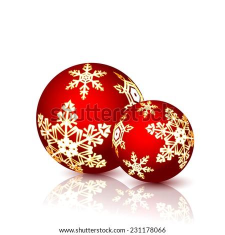 Christmas Balls isolated on white background. illustration. - stock photo