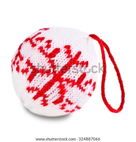 Christmas balls knitted texture pattern on a white background - stock photo