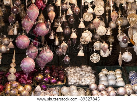 Christmas Balls of an advent markt stall - stock photo