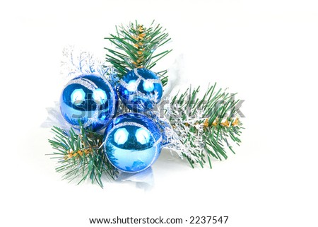 christmas balls on a pine tree isolated on white background