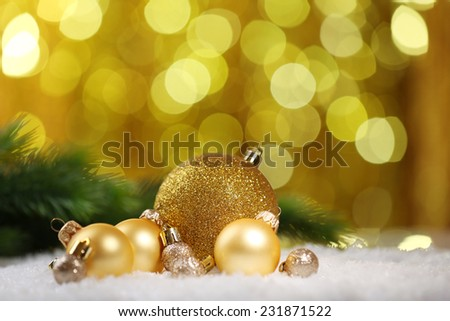 Christmas balls on abstract light background