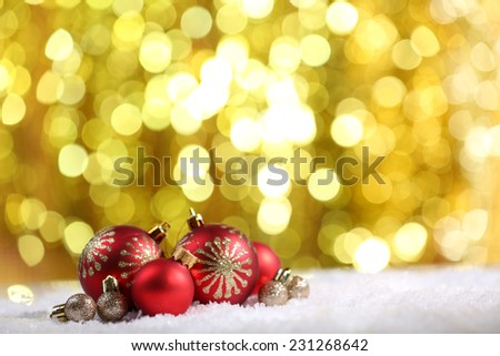 Christmas balls on bright background