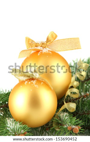 Christmas balls on fir tree with snow, isolated on white