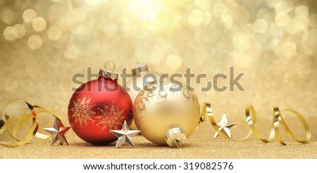 Christmas balls on glitter background - stock photo