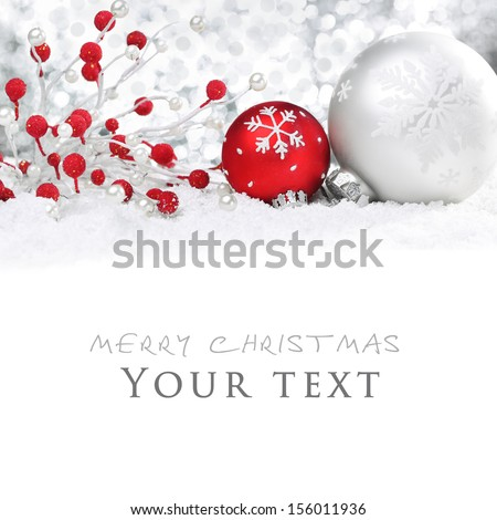 Christmas balls on snow. - stock photo