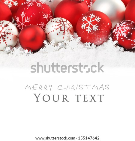 Christmas balls on snow,Copy space for your text. - stock photo