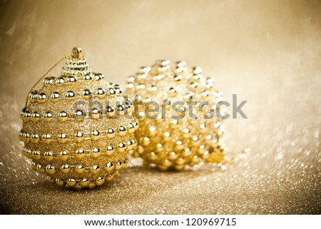 Christmas balls on sparkles background