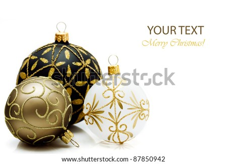 Christmas balls on white background. - stock photo