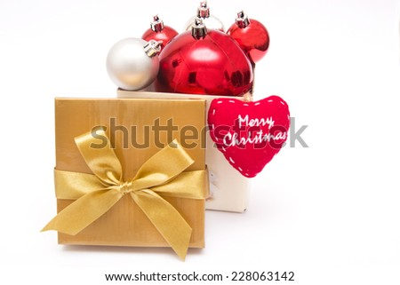 Christmas balls out of a gift box - stock photo