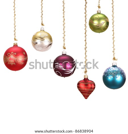 Christmas balls over white - stock photo