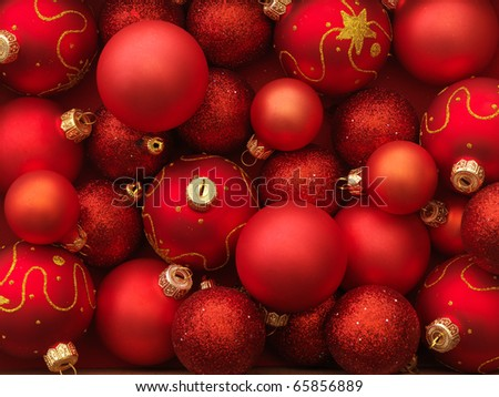 Christmas balls red background. - stock photo