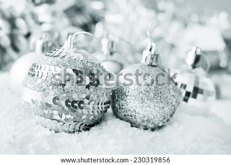 Christmas balls, Silver balls, Christmas decoration on the light background - stock photo