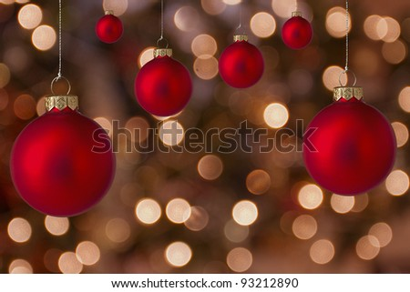 Christmas balls with blurred light background - stock photo