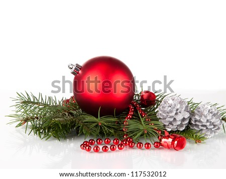 christmas balls with pine and decorations