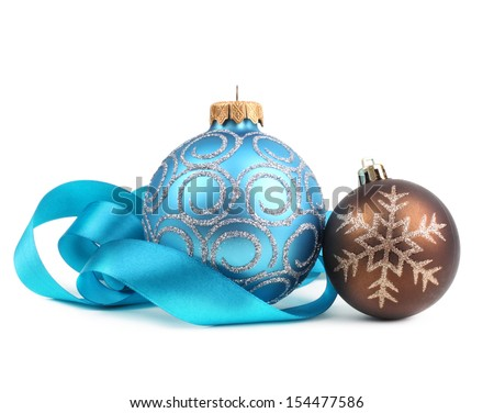 Christmas balls with ribbon - stock photo
