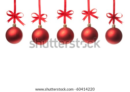 Christmas balls  with ribbons and bow on white background