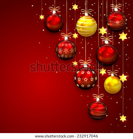 Christmas balls with stars and confetti on red background, illustration. - stock photo