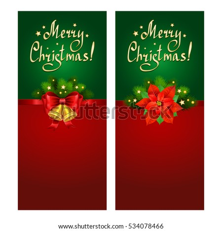 Christmas banner set with fir branches, Christmas Star-poinsettia and bells